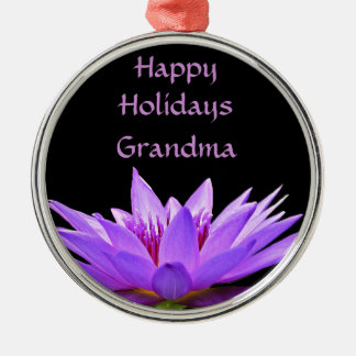 Purple water lily on black background metal ornament