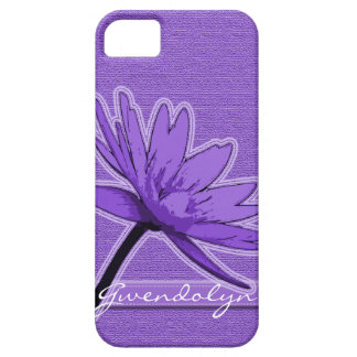 Purple Water Lily Personalized Barely There iPhone 5 Case