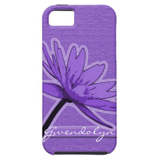 Purple Water Lily Personalized iPhone 5 Case