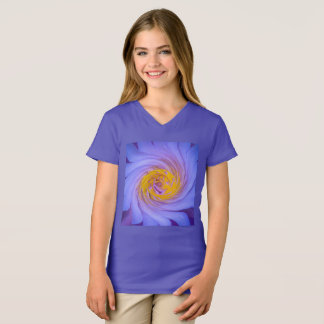 Purple Water Lily Twirl Design T-Shirt