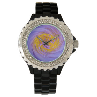 Purple Water Lily Twirl Design Watch