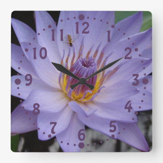 Purple Water Lily Wall Clock with Honeybee