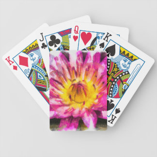 Purple Water Lily Watercolor Ink Bicycle Playing Cards