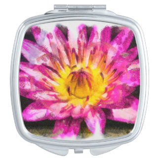 Purple Water Lily Watercolor Ink Mirror For Makeup
