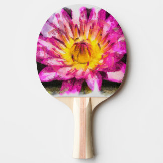 Purple Water Lily Watercolor Ink Ping Pong Paddle