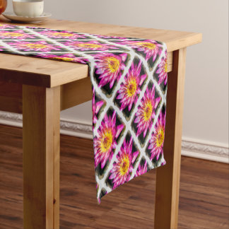 Purple Water Lily Watercolor Ink Short Table Runner