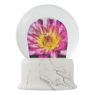 Purple Water Lily Watercolor Ink Snow Globe