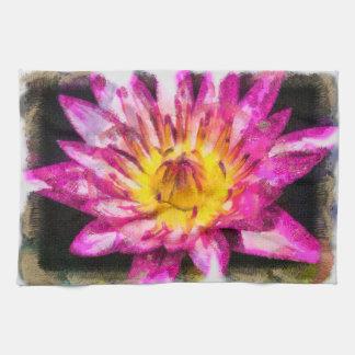 Purple Water Lily Watercolor Ink Tea Towel