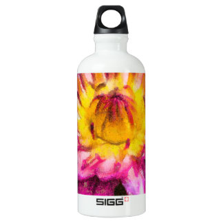 Purple Water Lily Watercolor Ink Water Bottle