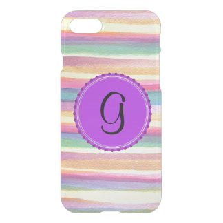 Purple Watercolor Abstract Background Monogram iPhone 7 Case