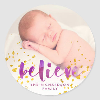 Purple Watercolor and Gold Believe | Photo Classic Round Sticker