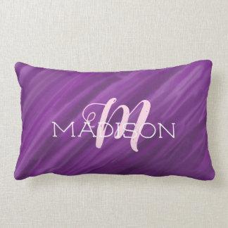 Purple Watercolor And Name Lumbar Cushion