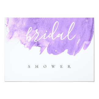 Purple watercolor bridal shower invitations