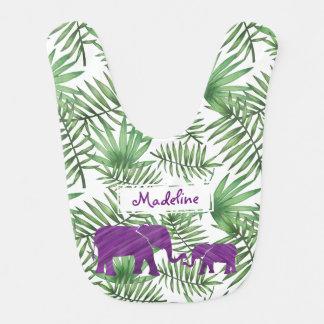 Purple Watercolor Elephants And Name Bib