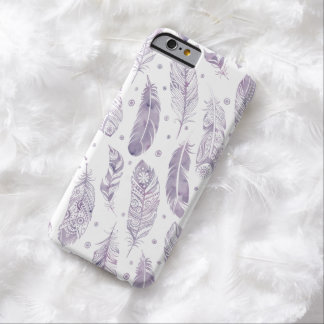 Purple Watercolor Feather Pattern iPhone Case
