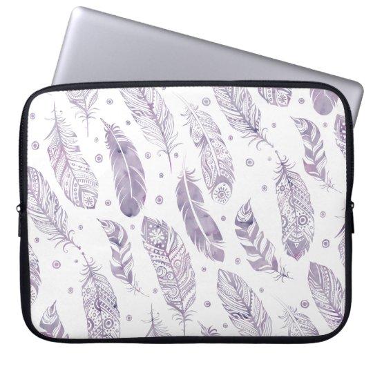 Purple Watercolor Feather Pattern Makeup Bag