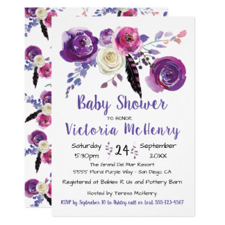 Purple watercolor Floral Boho BabyShower Card