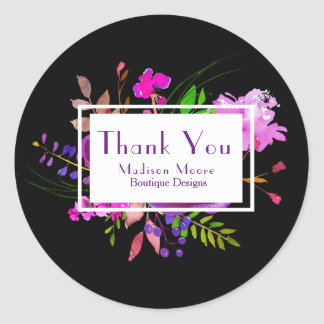 Purple Watercolor Floral Bouquet Company Thank You Round Sticker