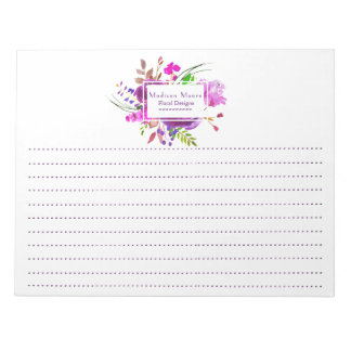 Purple Watercolor Floral Bouquet Lined Notepad