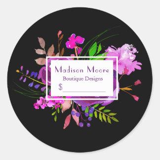 Purple Watercolor Floral Bouquet Price Round Sticker