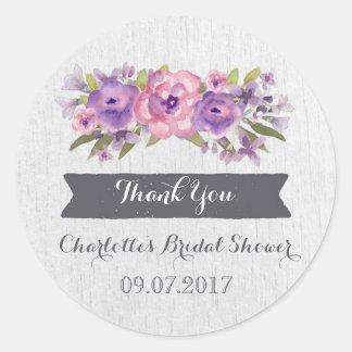 Purple Watercolor Floral Bridal Shower Favor Tags