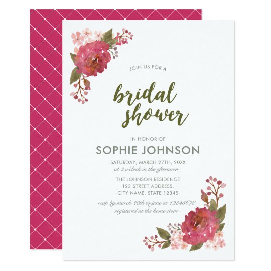 Purple Watercolor Floral Bridal Shower Invitation
