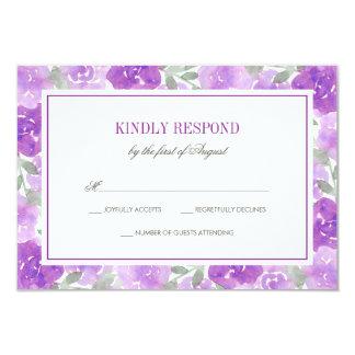 Purple Watercolor Floral Garden Wedding RSVP 9 Cm X 13 Cm Invitation Card