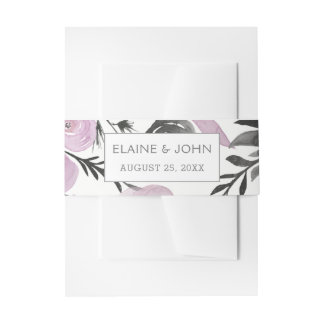 Purple Watercolor Floral invitation belly band