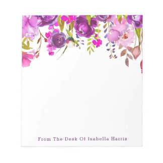 Purple Watercolor Floral Name Personalized Notepad