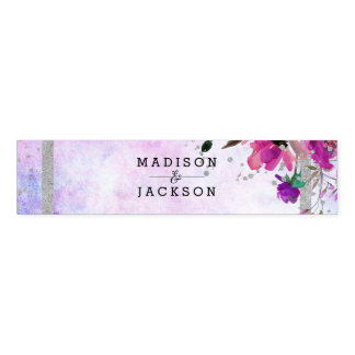 Purple Watercolor Floral & Silver Confetti Wedding Napkin Band