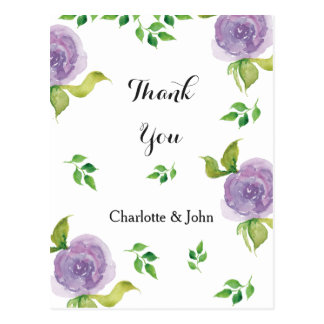Purple watercolor floral Thank You notes Postcard