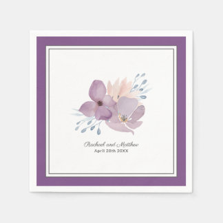 Purple Watercolor Floral Wedding Disposable Serviette