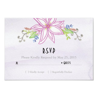 Purple Watercolor Floral Wedding RSVP Card