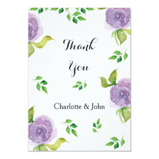 Purple watercolor floral wedding Thank You 13 Cm X 18 Cm Invitation Card