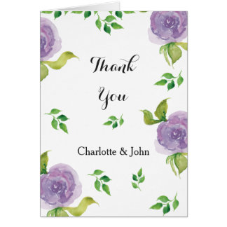 Purple watercolor floral wedding Thank You Greeting Card