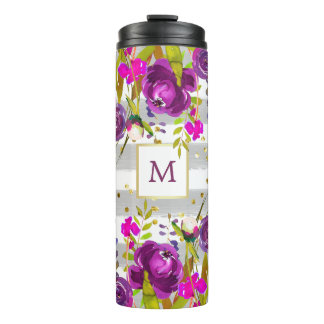 Purple Watercolor Floral with Gold and Stripes Thermal Tumbler