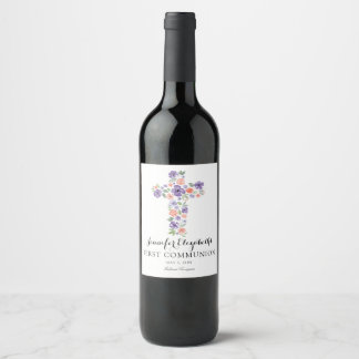 Purple Watercolor Flower Cross First Communion Wine Label