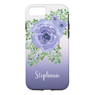 Purple Watercolor Flowers and Greenery iPhone 8/7 Case