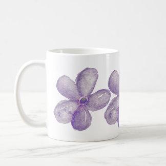 Purple Watercolor Flowers Classic White Coffee Mug