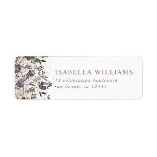 Purple Watercolor Flowers Wedding Return Address Label