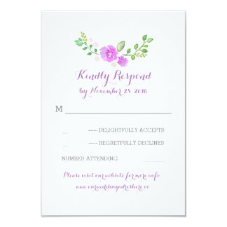 purple watercolor flowers wedding RSVP cards 9 Cm X 13 Cm Invitation Card