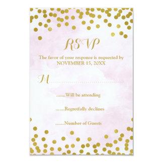 Purple Watercolor Gold Confetti Wedding RSVP Card