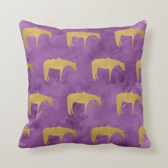 Purple Watercolor Golden Texture Western Horse Cushion