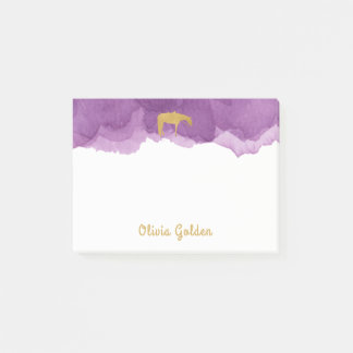 Purple Watercolor Golden Texture Western Horse Post-it® Notes