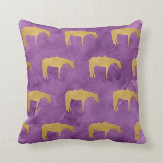 Purple Watercolor Golden Texture Western Horse Throw Pillow