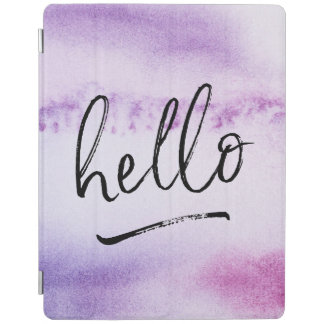 Purple watercolor Hello hand-lettered ipad cover