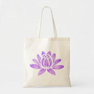 Purple Watercolor Lotus Flower Modern Girly Tote Bag