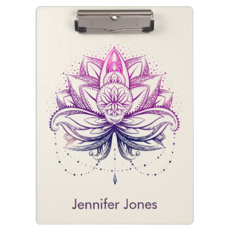 Purple  Watercolor Lotus / Lily flower Clipboard