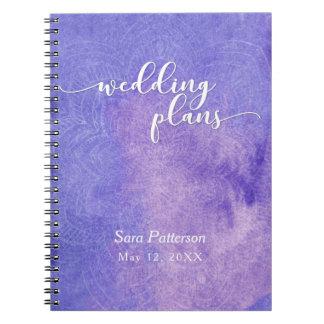 Purple Watercolor Mandala Bridal Wedding Planner 2 Notebook