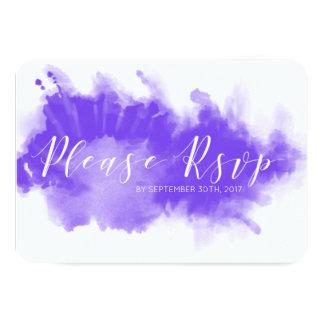 Purple Watercolor Minimalist Wedding RSVP Card